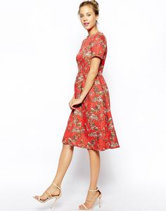 Image 4 ofASOS Textured Midi Skater Dress with Floral Print