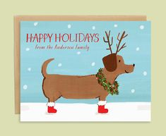Dachshund Christmas Card with Holiday Dog by LeveretPaperie