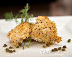 Herb-crusted halibut: an easy diabetic recipe for fish. Takes just 20 minutes and has just 10g of carbs. Simple diabetic recipe for people with type 1 diabetes or type 2 diabetes.