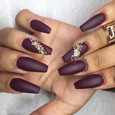 Dark maroon matte nails
