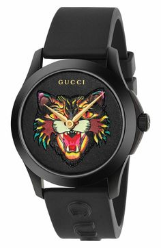 df401daaa62 Gucci Angry Cat Rubber Strap Watch