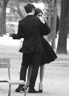 Romantic couple dancing in / black and white romance