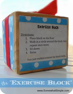 """the """"Exercise Block"""" (no exercise required!) My kind of exercise, from www.SomewhatSimple.com #exercise"""