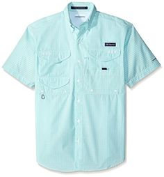 Columbia Sportswear Men's Super Bonehead Classic Short Sleeve Shirt, Gulf Stream/Gingham, X-Small >>> You can find more details by visiting the image link.