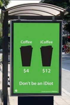 """""""Coffee vs. iCoffee: Don't be an iDiot""""    [click on this image to find a short video and analysis of Marx's notion of """"commodity fetishism""""]"""