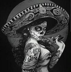Vintage T design Sugar Skull Mädchen, Sugar Skull Tattoos, Lowrider Art, Mexican Skulls, Mexican Art, Los Muertos Tattoo, Lady Mechanika, Catrina Tattoo, Chicano Tattoos