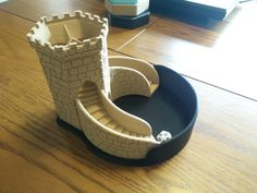 Retaining Wall and Platform for Three-path Dice Tower by <br> Metallic Colors, Muted Colors, Dungeons And Dragons, Diy Retaining Wall, Using Concealer, Dice Tower, 3d Printing Diy, Metallic Eyeshadow, Dragon Crafts