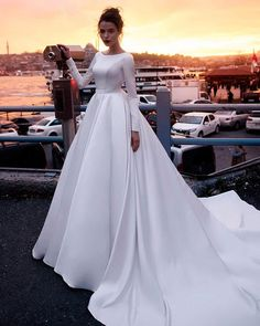 717918a6d9f Long Sleeve Satin Wedding Dresses Backless 2019 Ball Gown Bridal Dress  Cathedral Train