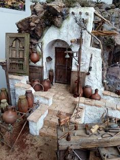Beautiful portico – Top Of The World Christmas Nativity Scene, Christmas Crafts, Christmas Decorations, Nativity Scenes, Miniature Rooms, Miniature Houses, Witch House, Miniture Things, Fairy Houses