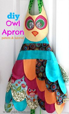 My Little Owl Apron & Pattern from PinkWhen.com #owl #apron