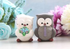 Cute bride and groom Owls cake toppers! For your cake or for a special handmade in Italy wedding gift! -- New clay: they looks like velvety and are also super lightweight!  SIZE: the figurines...