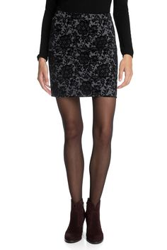 Esprit | Stretch skirt with flock print