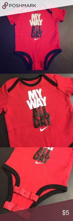 """NIKE Onesie """"My Way All Day"""" Red & Black Cotton. Three button bottom. Size 0-3 months. Imported, China. Nike One Pieces Bodysuits"""