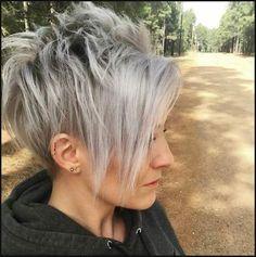 Grau eine langweilige Farbe? Diese 10 Kurzhaarfrisuren beweisen ... | Einfache Frisuren
