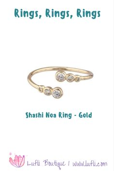 The Shashi Noa Ring is perfect for your everyday life. Fun and easy to wear with everything! 18 K gold-plated sterling silver ring fashioned with three CZ crystals on each side, adjustable and made in the USA! Cute for any occasion. Find this at Lufli Boutique!
