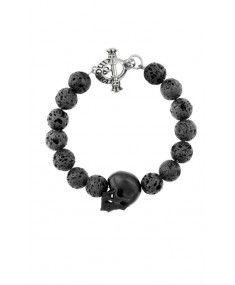 King Baby - Handcrafted Men's Lava Rock Bead Bracelet w/ Jet Skull - Sterling Silver. Bracelets Handmade In USA. Skull Bracelet, Skull Jewelry, Bracelet Clasps, Beaded Bracelets, Man Jewelry, Rock Jewelry, Ring Necklace, Jewelry Ideas, Bracelets For Men