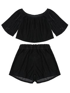 Velvet Crop Top and Shorts - BLACK M