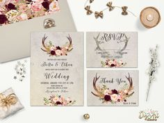 REPIN NOW for later! Rustic Wedding Invitation Printable Floral Antler Wedding Invitation Suite Deer Antler Wedding Invite Boho Woodland Wedding Set DIY/ Printed by DigartDesigns on Etsy