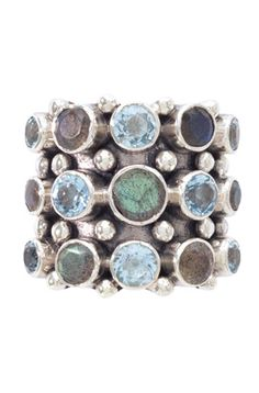 KumKum jewelry from Sweden. I covet this ring! Silver labradorite and blue topaz.