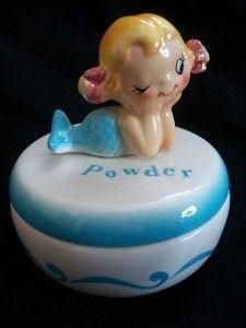 Holt Howard Powder Jar Mermaid. Love this item. We have similar vintage items For Sale: jcswabbit@bellsouth.net
