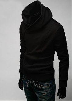 British Style Inclined Zip Closure Black Cotton Hoody Coat