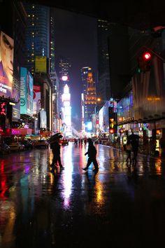 Rainy night in New York City.