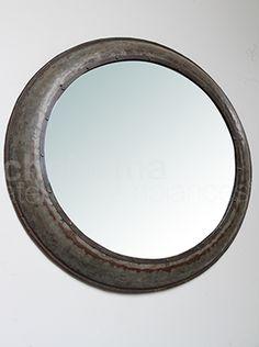grand miroir rond suspendu m tal vieilli et cordage ancien 52 cm salle de bain pinterest. Black Bedroom Furniture Sets. Home Design Ideas