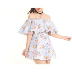 Made To Order Lolita Off Shoulder Set in Blue Floral ❤ liked on Polyvore featuring tops, floral print tops, floral print crop top, white off shoulder top, cut-out crop tops and off shoulder tops