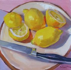 """Lemon Snack"" by Sarah Sedwick ©2012 8x8in oil on canvas"