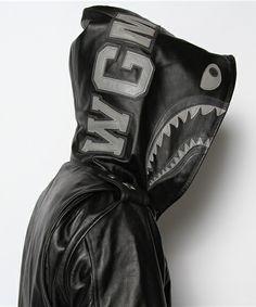Bape hoodie in leather. #urbvngallery  Instagram @Urbvn Gallery