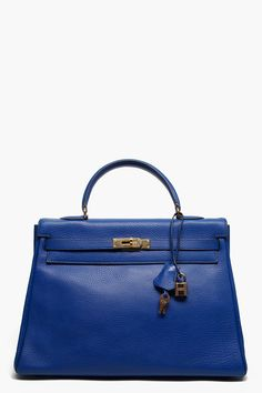 HERMES VINTAGE //  BLUE ROYALE ARDENNES LEATHER KELLY TOTE