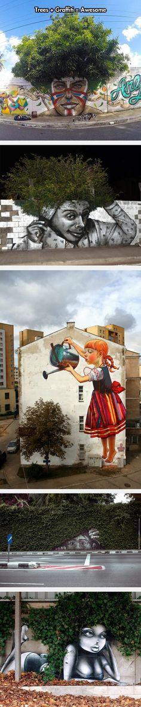 Mixing Graffiti And Trees, street art, murals, graffiti.