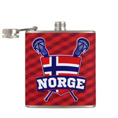 Norge Norway #Lacrosse Logo Hip Flasks. To see this design on the full range of products, please visit my store: www.zazzle.com/gamefacegear*/   Norwegian flag lacrosse shield with crossed LAX sticks.