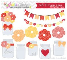 INSTANT DOWNLOAD, fall mason jar clipart - vintage wedding - bunting banner - patterned - commercial use - flower - digital element