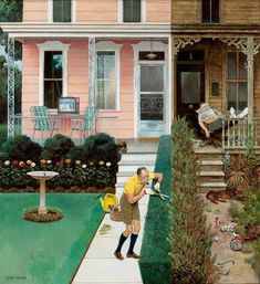 John FALTER \\\ Sunday Gardening \\\ John Philip Falter - May more commonly known as John Falter, was an American artist best known for his many cover paintings for The Saturday Evening Post. Norman Rockwell, Saturday Evening Post, Inspiration Art, American Artists, Vintage Pictures, Nostalgic Pictures, Vintage Art, Vintage Stuff, Vintage Homes
