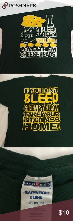 Green Bay Packers Cheese Heads T Shirt XL Green Bay Packers  XL - I Bleed Green and Yellow Love Them Cheese Heads on the front - Back says - If You Don't Bleed Green And Yellow - Take Your Bitch Ass Home jerzees Tops Tees - Short Sleeve