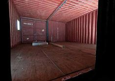 Interior of storage container while it is being refurbished for use as an office.