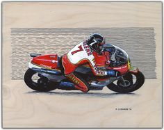 """Barry Sheene - 1977 Suzuki RG500 Pen & ink and markers on 14""""x 11"""" birch panel © Paul Chenard 2016 Original art available, as are limited editions."""