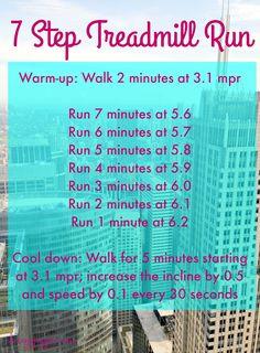 7 Step Treadmill Run - a quick, 35 minutes running workout Running On Treadmill, Treadmill Workouts, Running Workouts, Running Tips, Running Training, Hiit, Running Humor, Running Plans, Treadmill Routine