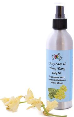 Body Oil Aphrodisiac | Clary sage and Ylang Ylang Aromatherapy Spray | Natural Body Oil | Relaxing Massage Oil