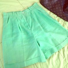 Lime green linen shorts Linen shorts, hits about knee Other