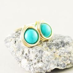 Turquoise Studs Aqua Posts Turquoise Post Earrings by NansGlam, $15.00