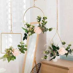 Delighted Simple Iron Hanging Flower Decorative Ornament - Add vibrancy to your home with our decorative wall garland. The combination of artificial flowers a - Diy Wand, Diy Wall Decor, Home Decor Wall Art, Flower Wall Decor, Flower Decorations, Wedding Decorations, Hanging Decorations, Hanging Ornaments, Ornaments Ideas