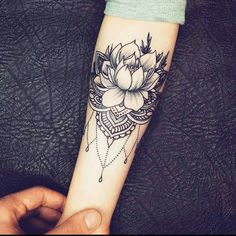 Awesome black and grey tattrx tattoo style of Jewelry Flower motive done by tattoo artist Anastasia Agapova Cuff Tattoo, Bicep Tattoo, Forearm Tattoos, Body Art Tattoos, Tatoos, Tattoos Mandalas, Mandala Hand Tattoos, Lotus Mandala Tattoo, Geometric Tattoos
