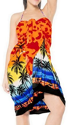 dae1ed74b8 Women's Clothing, Swimsuits & Cover Ups, Cover-Ups,Sarong Bathing Suit  Pareo Wrap Bikini Cover ups Womens Skirt Swimsuit Swimwear - Orange -