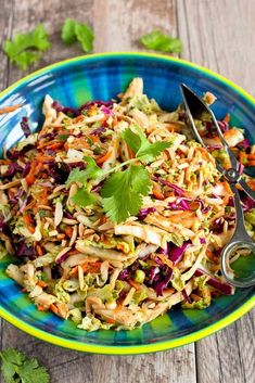 Thai Chicken Salad Recipe…It's virtually impossible to stop eating this delicious, healthy salad! 236 calories and 4 Weight Watchers Freestyle SP salad salad salad recipes grillen rezepte zum grillen Slaw Recipes, Chicken Salad Recipes, Avocado Recipes, Healthy Salad Recipes, Diet Recipes, Healthy Meals, Avocado Food, Recipe Chicken, Dinner Healthy