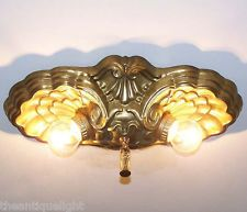 riddle slip shades | BRASS )) 1920's Vintage CEILING LIGHT LAMP Fixture FlushMount