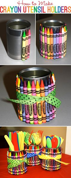 DIY Crayon Utensil Holders diy craft crafts easy crafts diy ideas diy crafts kids crafts organizing crafts for kids Back To School Party, School Parties, Pre School, Teacher Gifts Back To School, School Tips, Art Birthday, Birthday Parties, Birthday Ideas, Diy Elmo Birthday Party