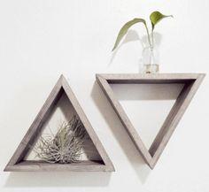 Set of 2 Triangle shelves - Barnwood grey - Floating shelf set. $44.00, via Etsy.