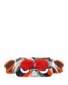Baguette Monster Mixed-Fur Shoulder Bag, Orange Multi